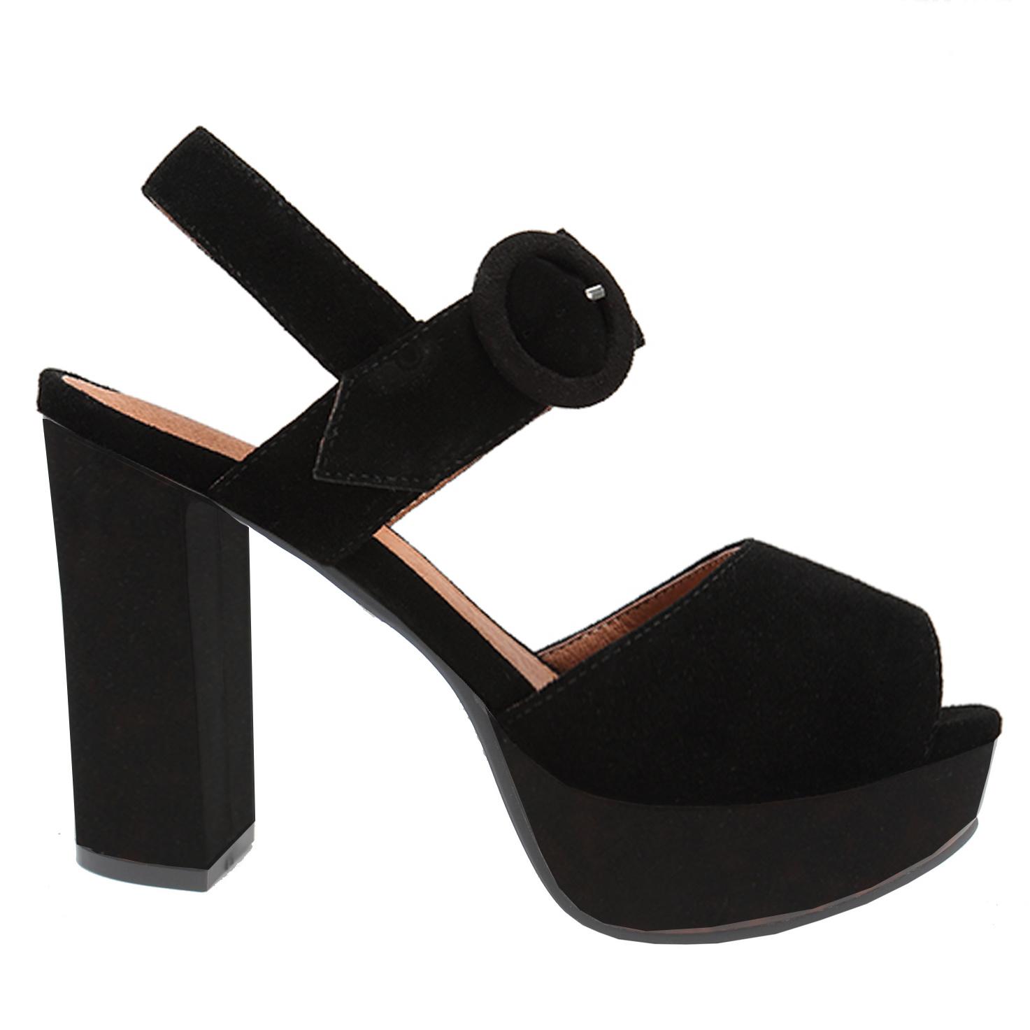 Frauen-Form-Absatz-Schwarz-beiläufige Sandelholz-Schuhe (LC686-7)