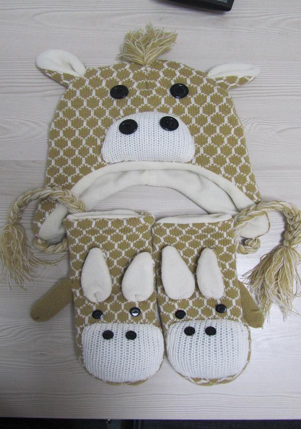 セットされるニットの動物の帽子および手袋木靴を編んでいる美しい子供