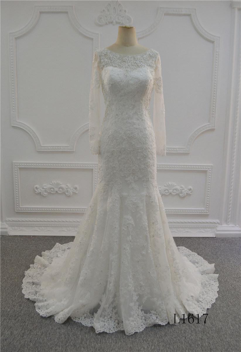 은총 구슬을%s 가진 긴 소매 신부 드레스 결혼 예복 2018년 결혼 예복 레이스를 가진 상아빛 인어 결혼 예복