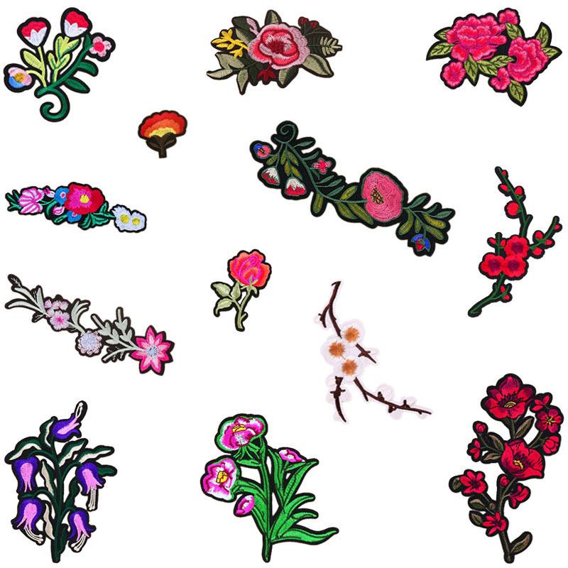 El hierro en parches apliques bordados florales decoración de ...