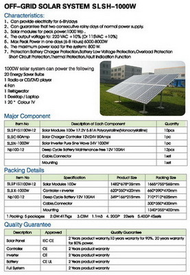L'énergie solaire Système d'alimentation hors réseau Solutions 1000W
