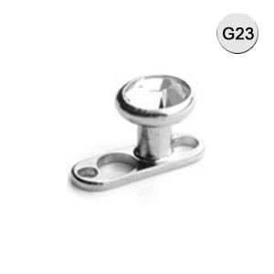 Rumpf Piercing Solid Titanium Single Piece 2/2.5mm Post mit 2 Hole Dermal Anchors