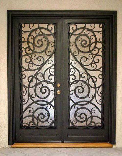 Porte d\'armoires de sécurité en fer forgé à double design moderne ...