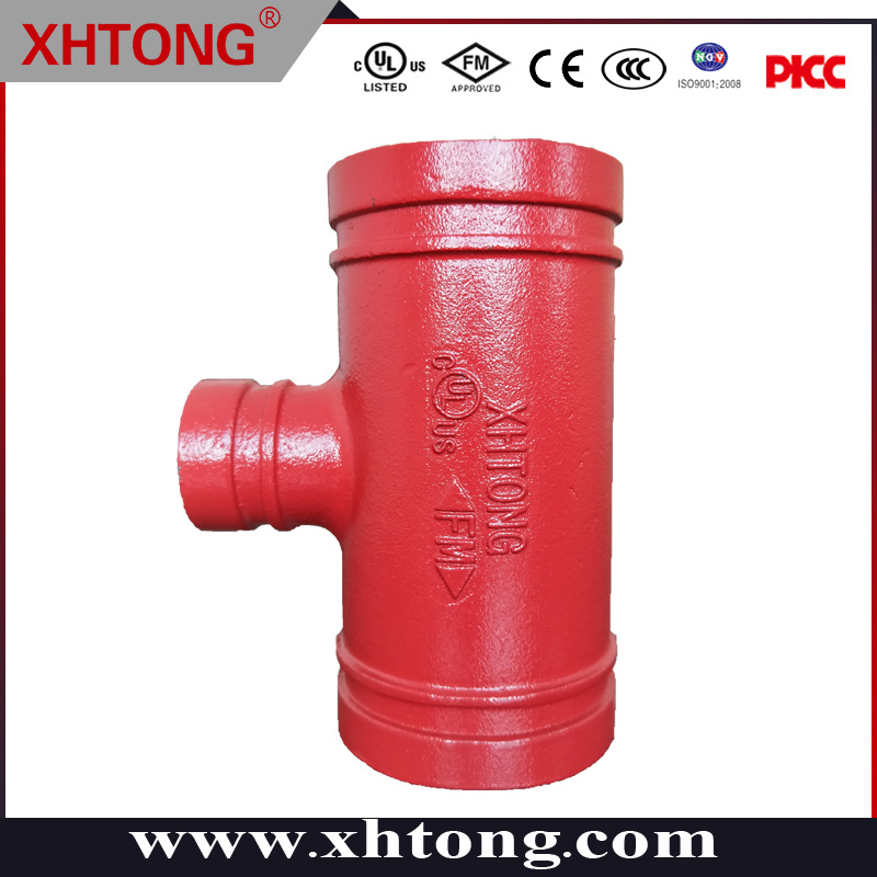 Raccordo a T per riduttore scanalato ASTM-A536 per sistemi antincendio