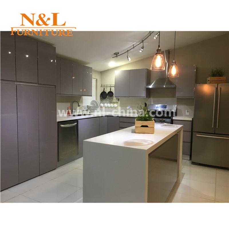 Foto de n l brillo alto y moderno mobiliario de cocina mdf for Mobiliario de cocina precios