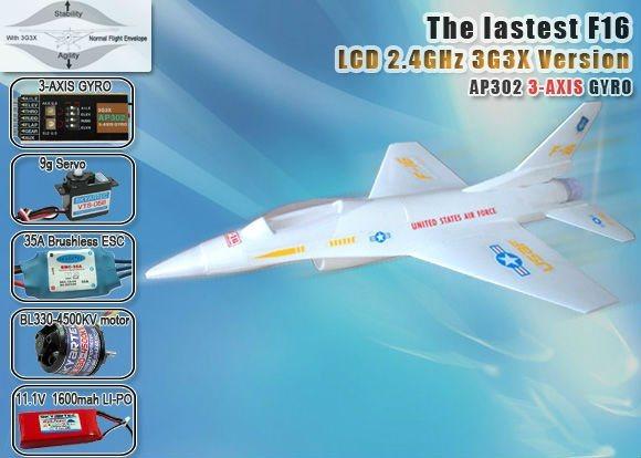 F-16 RC modelo de avião 2,4Ghz 5CH 3G3X com tela LCD RTF do transmissor (AP05-X1)