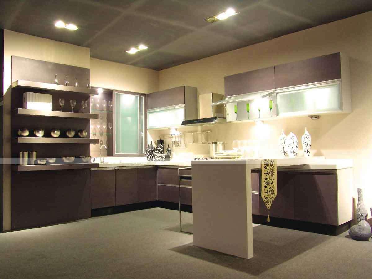 La moderna cocina de melamina de Champagne, armario con isla – La ...