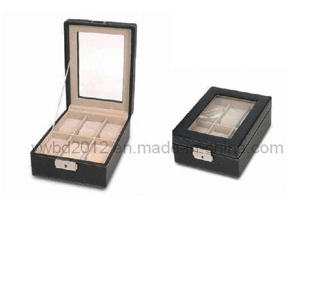 黒い革腕時計の陳列ケースの貯蔵のコレクターのオルガナイザー箱