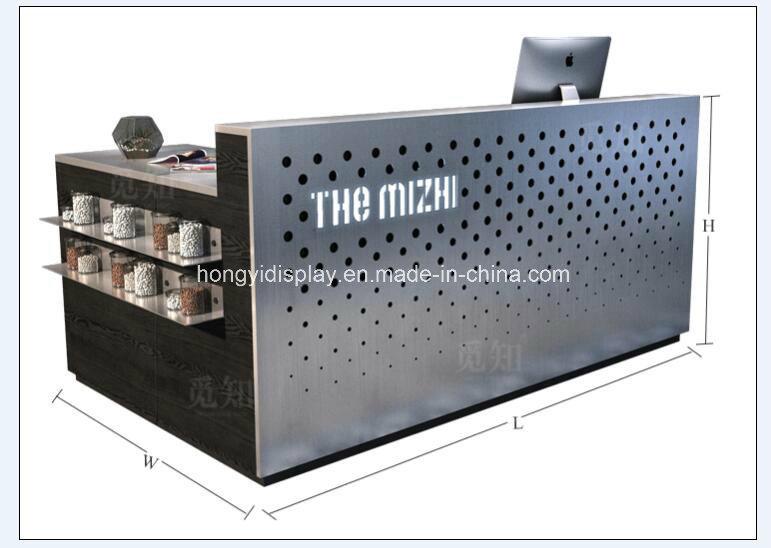Bureau moderne en bois blanc personnalisé compteur avant la
