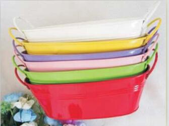 Овальная ванна металла ковш для хранения Flower Pot подарок держатель насадок в различных цветов