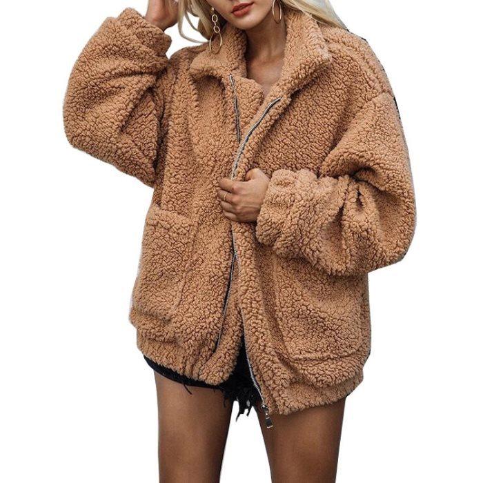 2019 Vestuário Adulto Curto Plush Jassey com bolso mulheres cubra