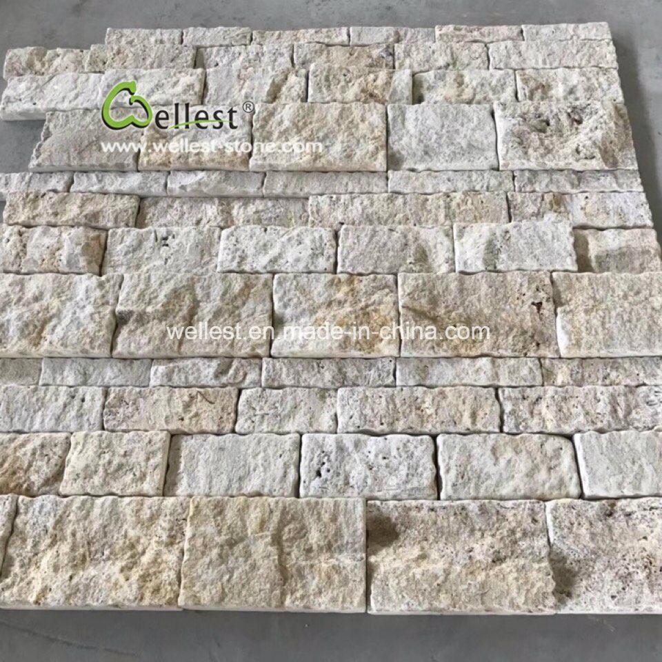 Mur En Pierre Interieur Beige beige roche calcaire de travertin face revêtement de mur