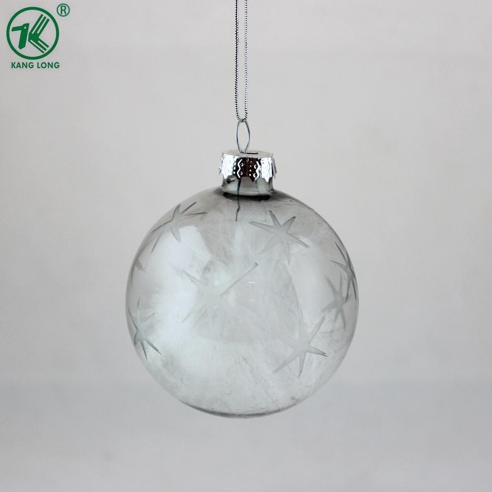 Comercio al por mayor 8cm de Navidad bola de cristal de color gris