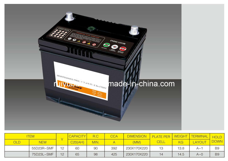 12V 65ah シールドメンテナンスフリー自動車用バッテリー