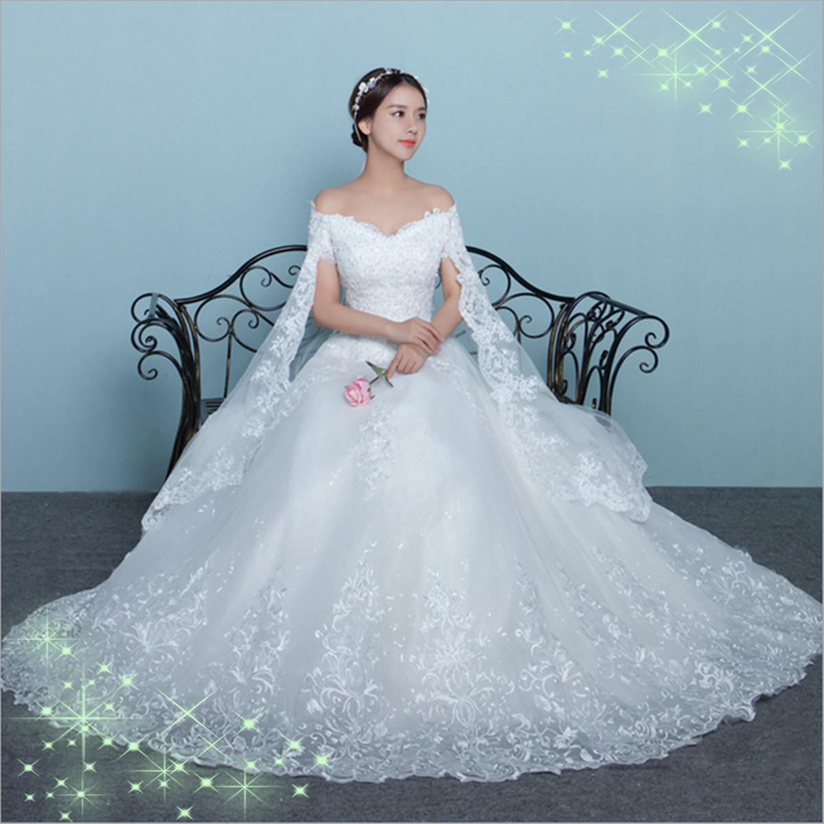 Foto de Encaje elegante satén off-Hombro vestido de novia con mantón ...
