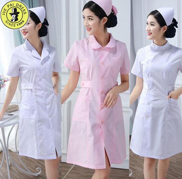 China Las Enfermeras Uniformes Monos De Polvo Blanco De Manga Larga