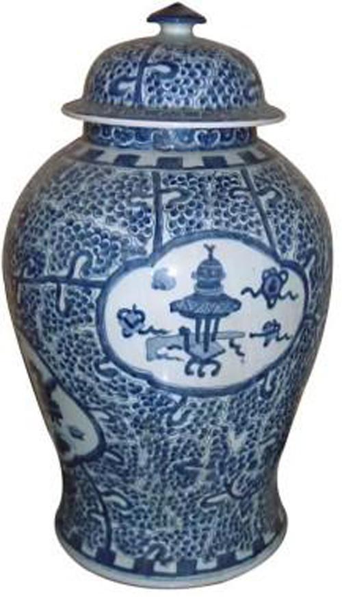 Azul e Branco chinês jarra de cerâmica