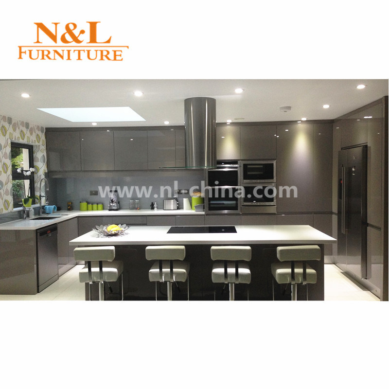 Foto de n l brillo alto y moderno mobiliario de cocina mdf - Armarios de cocina altos ...