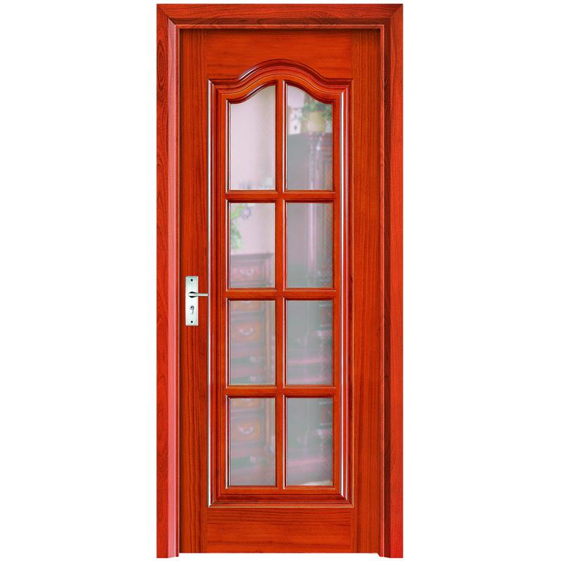 Estudo de interiores de estilo simples porta de madeira com vidro temperado (YH-6011)