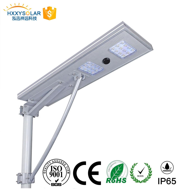 Fácil instalação em um único sistema integrado de sensor de movimento de microondas PIR Carga Solar 30W Jardim Rua IP65 Luz de LED