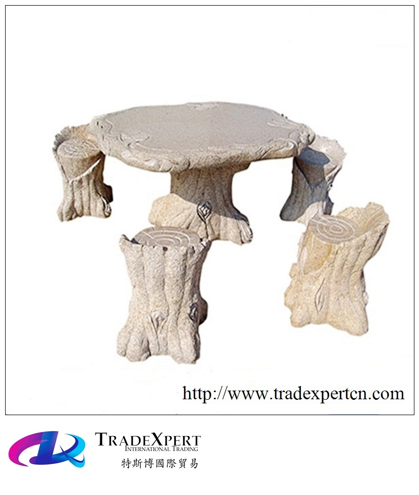 Foto de Antiguo de piedra de granito natural Jardín mesas y sillas ...