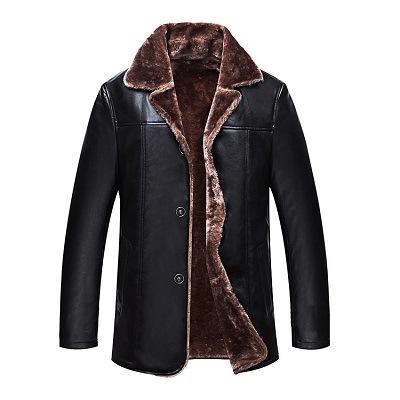 Abrigo Soporte Plus Pulido Collar de piel chaquetas de cuero para hombres