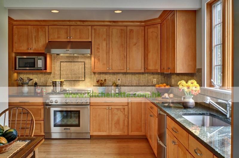 Foto de En forma de L Madera maciza Muebles de cocina estilo ...