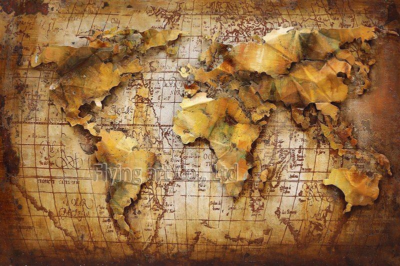 Mapa de ferro 3D pintura a óleo arte de metal para decoração