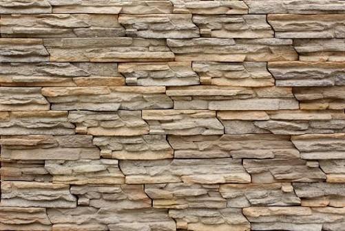 Foto de marr n elegante mosaico de piedra artificial de la - Piedra para pared exterior ...