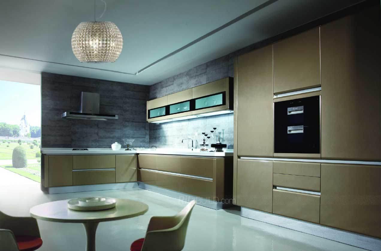 Muebles de cocina laca brillante color dorado para gabinetes de ...