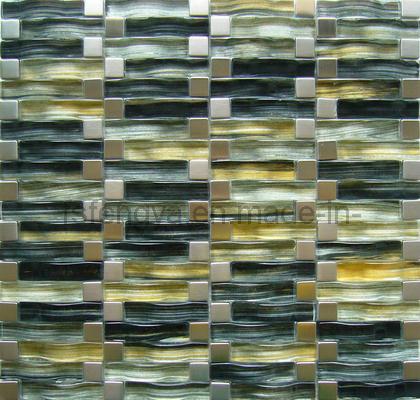 Mosaico de cristal misturado em aço inoxidável (FW05)