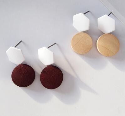 Natureza feitas à mão brincos de madeira