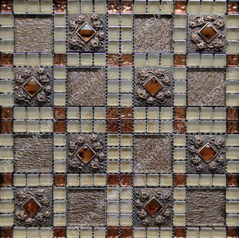 Mosaico de cristal de ladrilhos, mosaicos de vidro decoração resina rústico, Mosaico de azulejos de parede