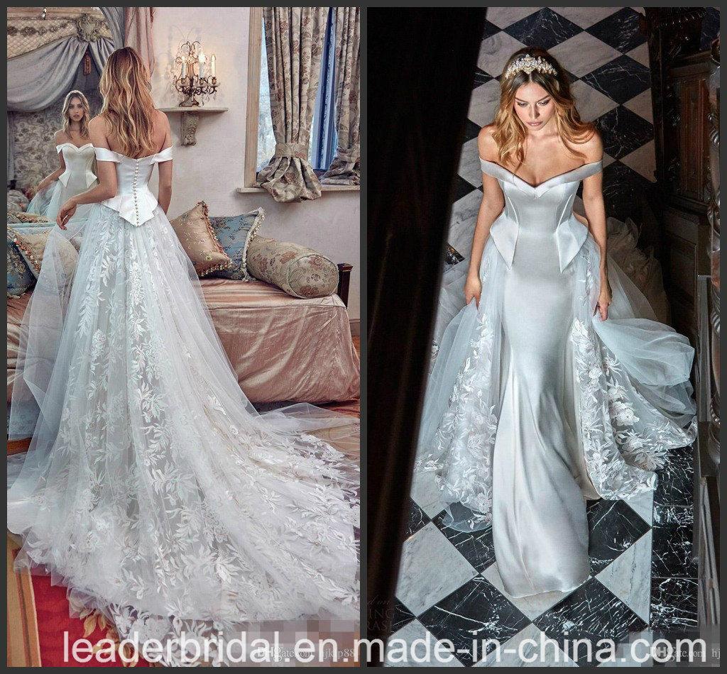 Silberne Brautkleid-Spitze-kundenspezifisches Farben-Akzent
