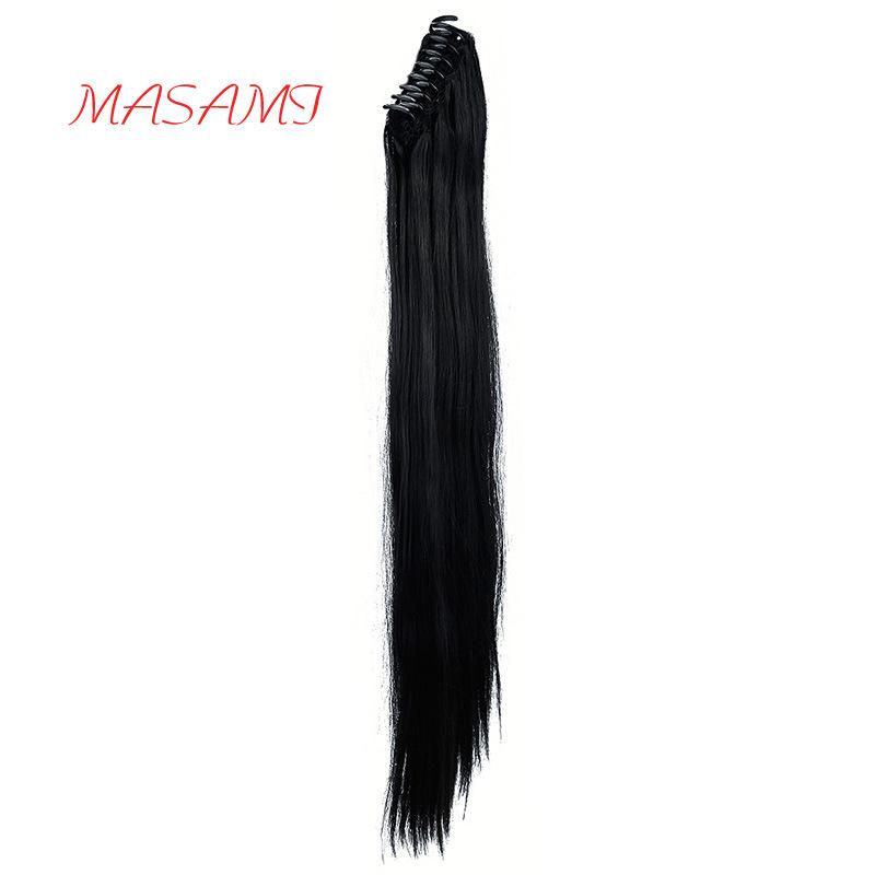"""Extensões de rabo-de-Reta - 24"""" Pata-Extensão de cabelo em garra Real como preto escuro humana um cordão de fibras sintéticas"""