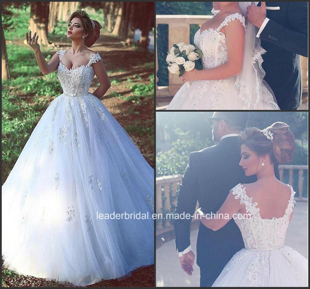 Foto de Vestido de encaje de las mangas de raso de novia vestido de ...
