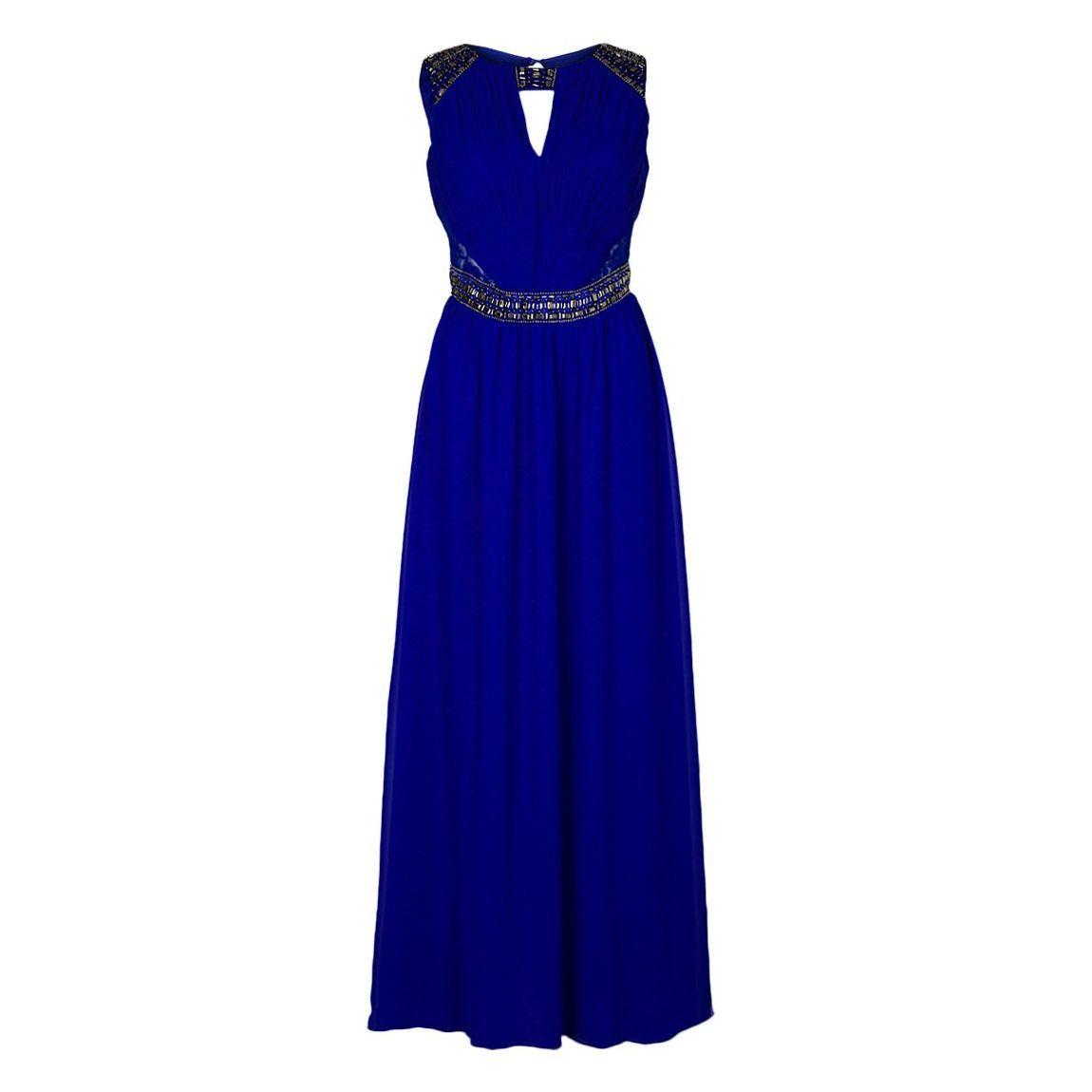 Elegante vestido de noche con encaje transparente, se inserta en los lados, 100% poliéster