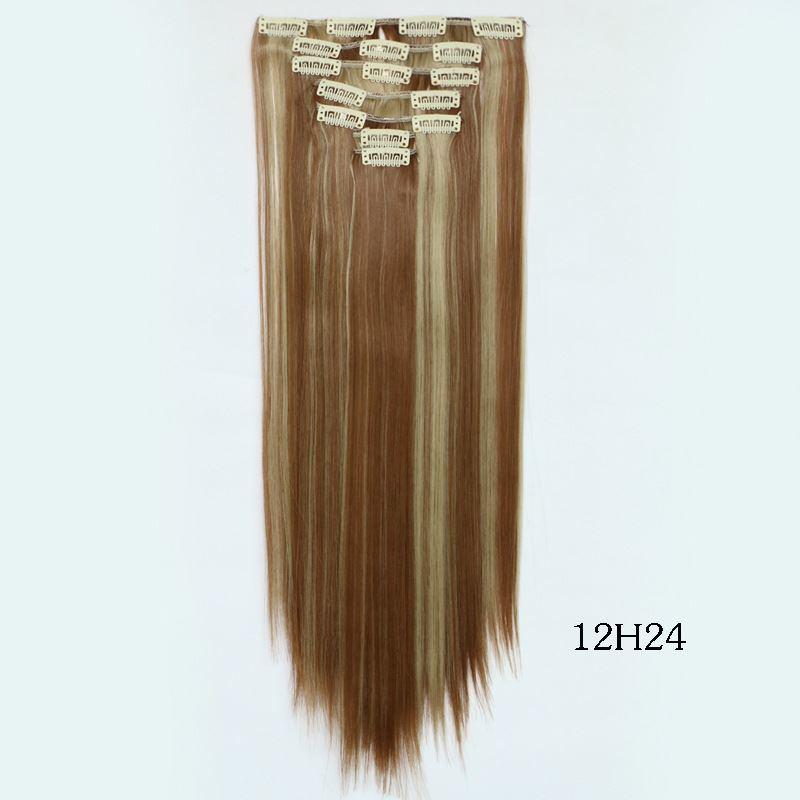 Hair Synthetic Tic TAC Hair Natural Bulk Hair Tress Blonde Black 브라운 Hair Extension클립 에서 7PCS/Lot 55cm Long Straight Hairpieces Extension