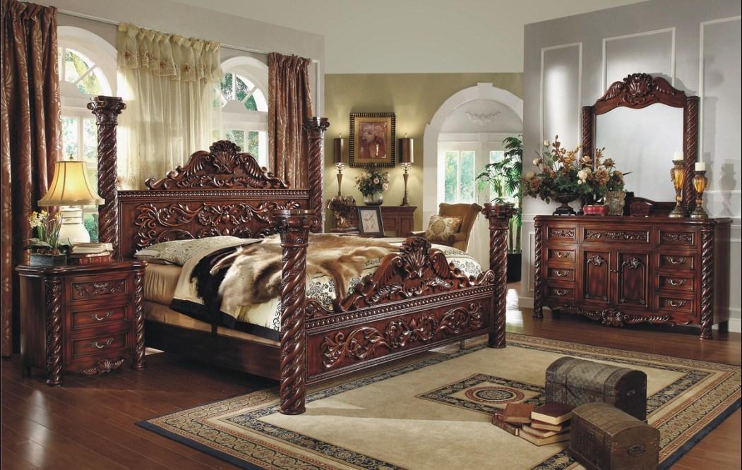 Meubles en bois antique de Luxe Chambre Lit King Size photo sur fr ...