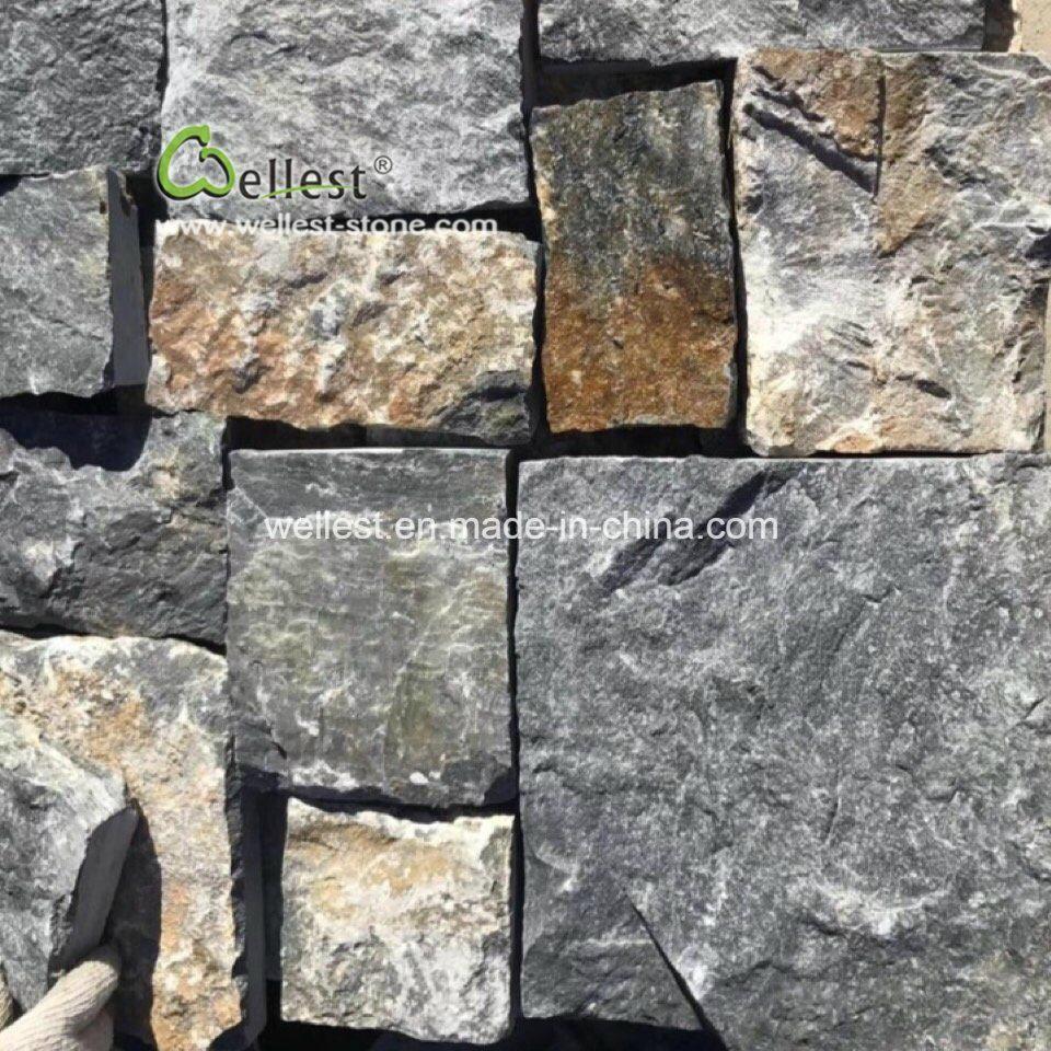Revetement Mur Exterieur Pierre mur en pierre calcaire marron mélangée de placages, de mur