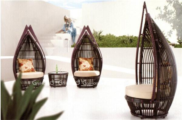 Diseño especial de jardín de ratán hamaca