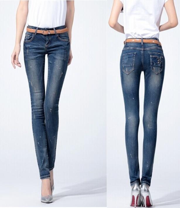 f5064c6b9e Jeans stretti della caviglia blu-chiaro delle donne (JC1172) foto su ...
