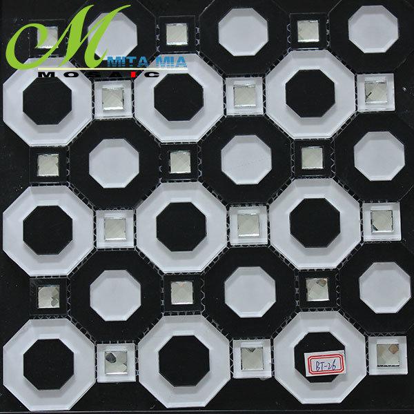 Branco e Preto Marítimas Octagon Mosaico de vidro para decoração Barra KTV