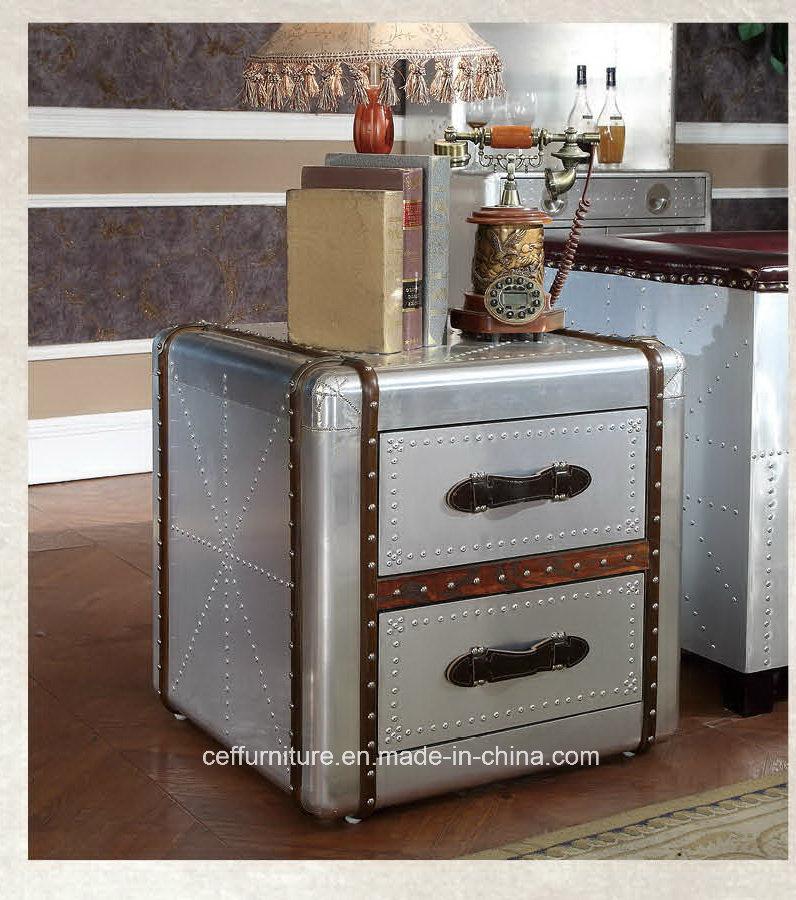 Muebles de cuero de aluminio Gabinete Mesilla de noche final mesa ...