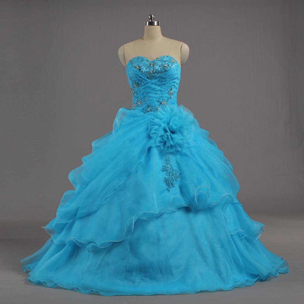 E637 Senhoras Strapless Cordão Azul Organza Vestidos Prom vestido de Esferas