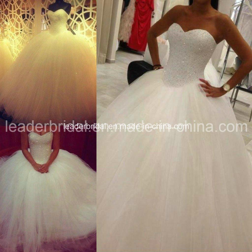 Schatz-Brautballkleid geschwollenes Vestidos Kristall-Hochzeits ...