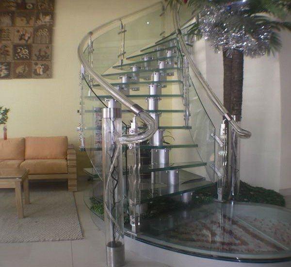 Baranda de escalera de vidrio templado baranda de - Escaleras de cristal templado ...