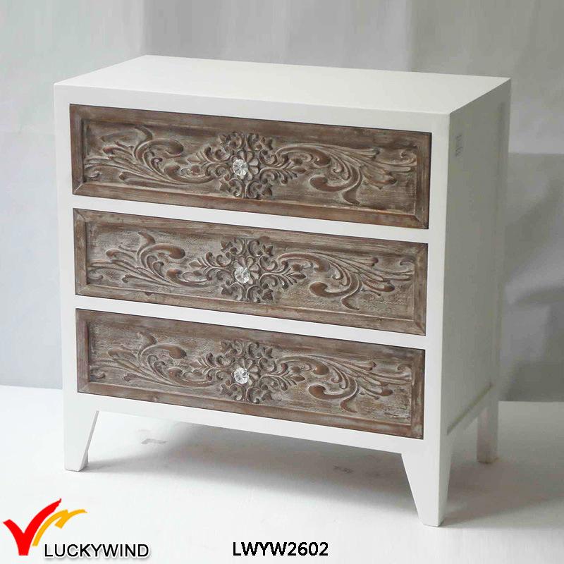 Blanco 3 cajones de madera maciza Tallada muebles antiguos – Blanco ...