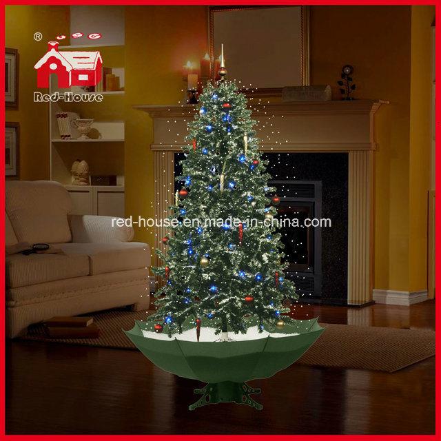 De Sneeuwende Kerstboom Van De Decoratie Van De Vakantie Met De