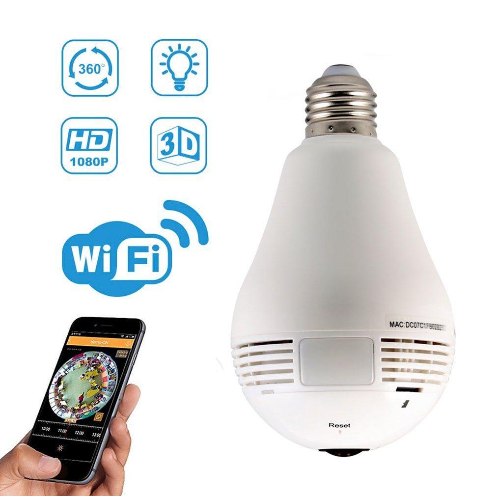 Ampoule WiFi Dôme caméra 1080P Fisheye 3W Lampe blanche lumière Lampe IR la motion de détecter la caméra Caméra CCTV